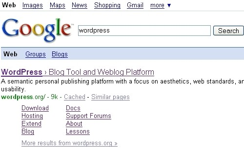 Sitelinks pre WordPress.org