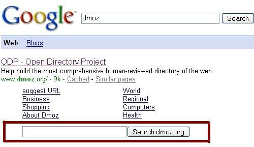 Extra search box pre Dmoz
