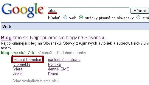 Sitelinks pre kľúčové slovo blog