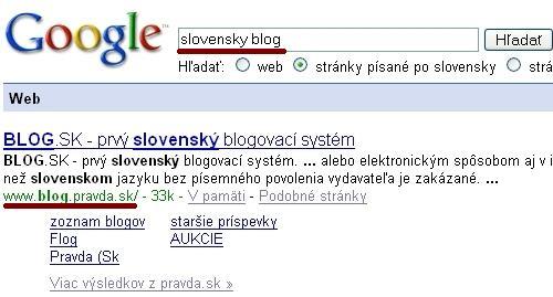 Sitelink pre frázu Slovensky blog