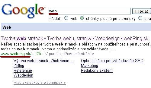 Sitelinks pre slovo Web