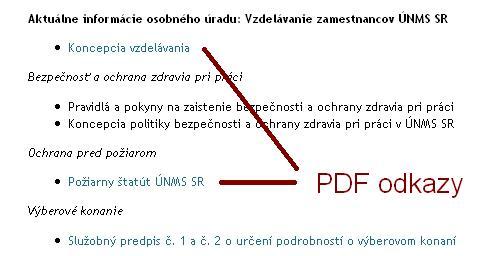 Neoznačené PDF odkazy