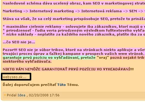 Skopírovaný text podpísaný ako webyseo.sk