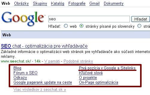 Sitelinks SEOchat.sk v slovenskom Google
