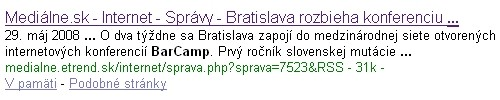 Google výsledok mediálne.sk na hľadanie slova BarCamp