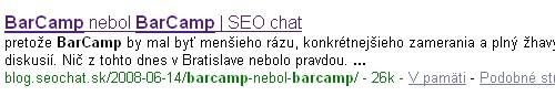 Google výsledok seochat.sk na hľadanie BarCamp