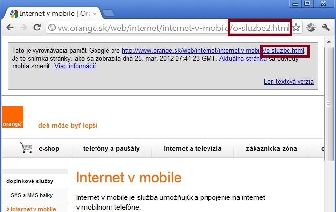 Google cache duplicitnej URL